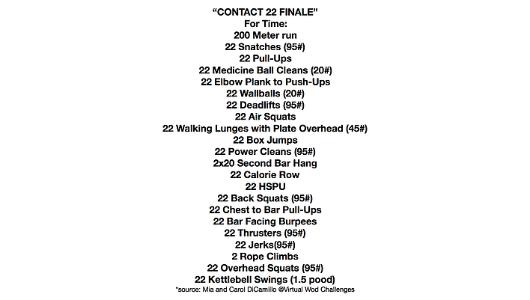 Contact 22 Finale Hero Wod - Barnes Corner Fitness